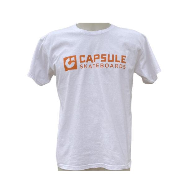 T-shirt Capsule White Orange Logo front